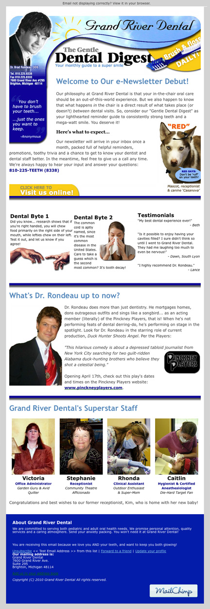 Grand River Dental's Debut e-Newsletter