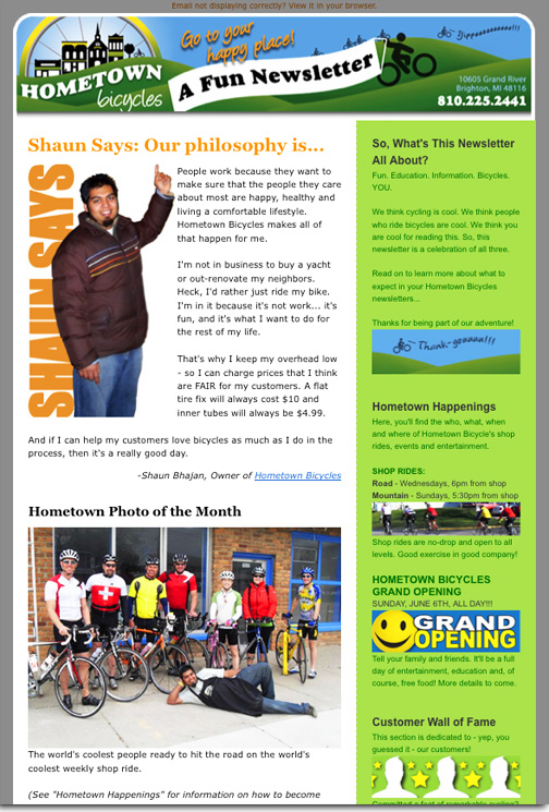 Hometown Bicycles LLC Newsletter