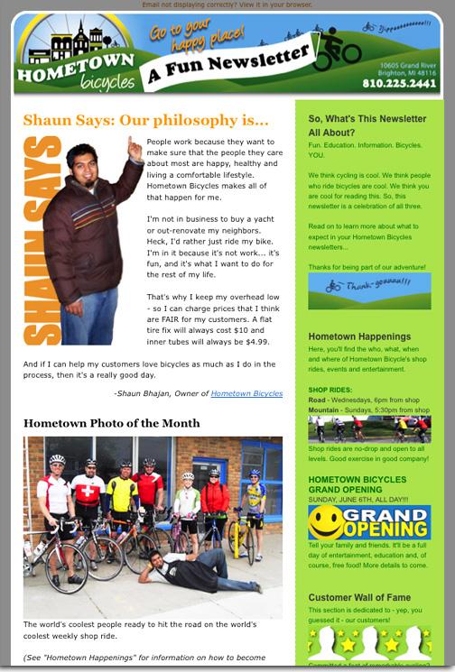 Hometown Bicycles LLC Newsletter