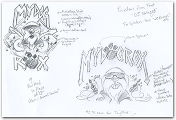 My Dog Rox logo sketches