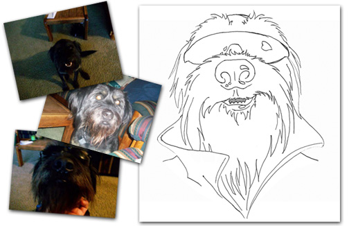 My Dog Rox Milo sketch from photos