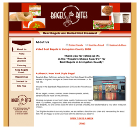 Bagels & Bites former website - sterile and unwelcoming