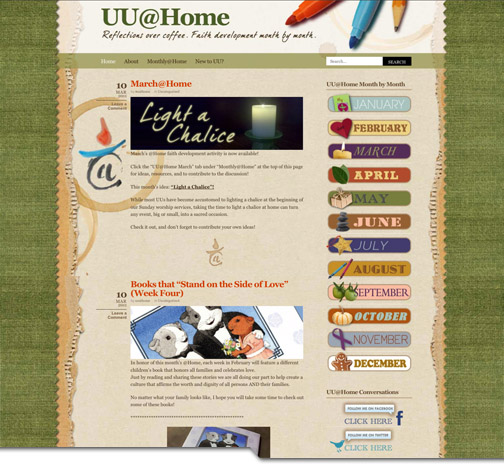 UU@Home website design by DMT Artistry, LLC