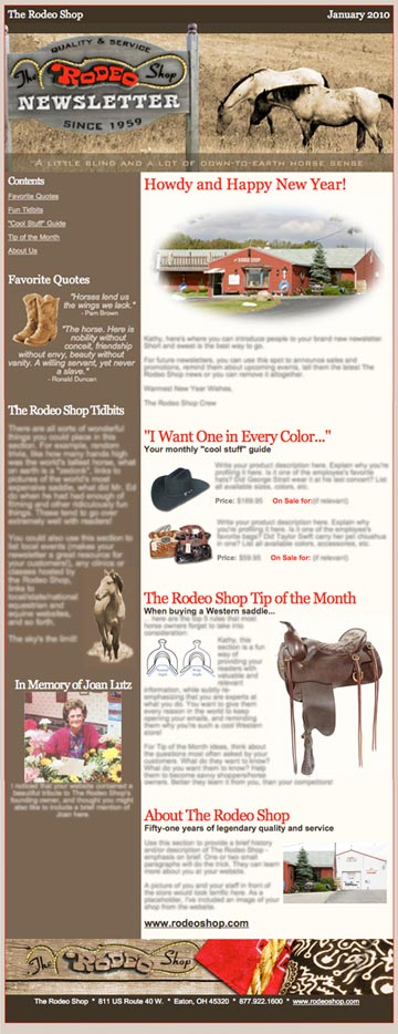 The Rodeo Shop Newsletter