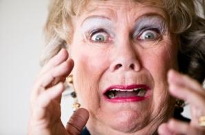 Scared senior woman